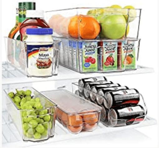 Greenco Fridge Bins, Stackable Storage Organizer Containers